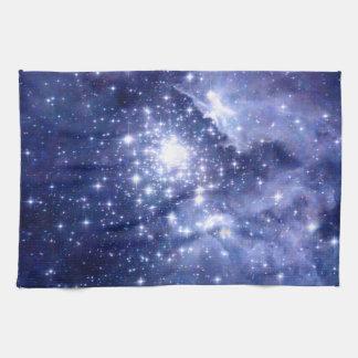 El cobalto soña el universo del espacio de las toallas de mano
