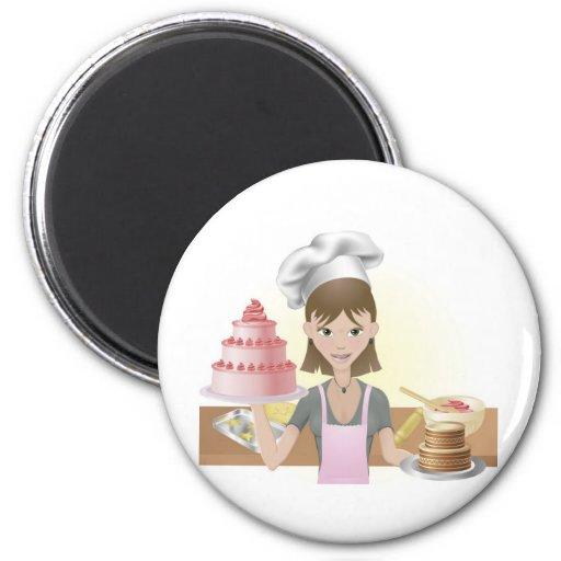 El cocer de la mujer joven tortas y galletas imán redondo 5 cm