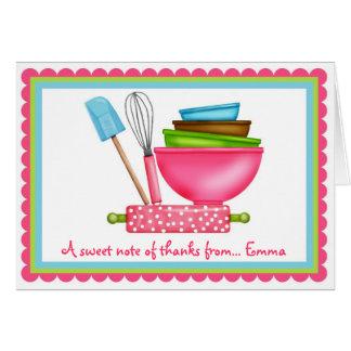 El cocer de las fuentes de la cocina le agradece tarjeta pequeña