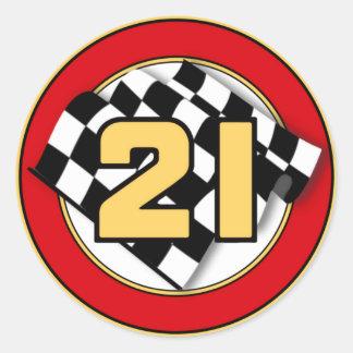 El coche 21 etiqueta redonda