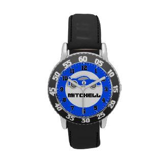 El coche azul de los niños de la diversión añade s relojes de pulsera