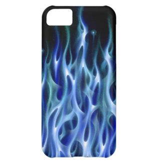 El coche azul del aerógrafo del diseño de la llama funda para iPhone 5C