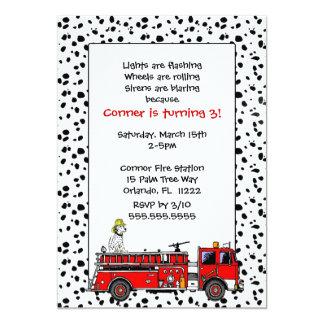 """El coche de bomberos con la fiesta de cumpleaños invitación 5"""" x 7"""""""