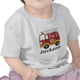El coche de bomberos lindo embroma el cumpleaños camisetas