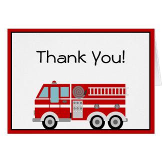 El coche de bomberos rojo y el gorra le agradecen  tarjeta pequeña