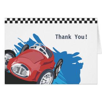 El coche de carreras le agradece cardar tarjeta