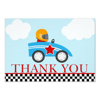 El coche de carreras le agradece las tarjetas de invitación 8,9 x 12,7 cm