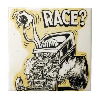 el coche de carreras quiere competir con oldschool azulejo cuadrado pequeño