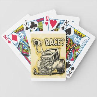 el coche de carreras quiere competir con oldschool barajas de cartas