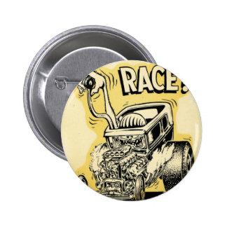 el coche de carreras quiere competir con oldschool pin redondo de 2 pulgadas