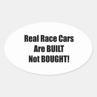 El coche de carreras real se construye no comprado pegatina ovalada