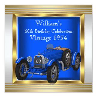 El coche de competición azul del vintage sirve a comunicado
