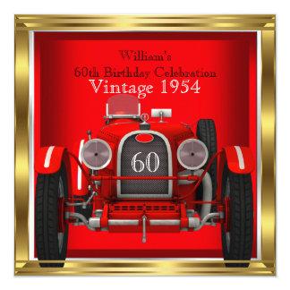 El coche de competición rojo del vintage sirve a anuncios personalizados
