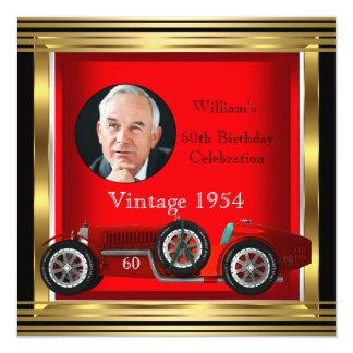 El coche de competición rojo del vintage sirve la invitación personalizada