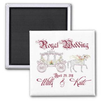 El coche de cristal conmemora el boda real imán cuadrado