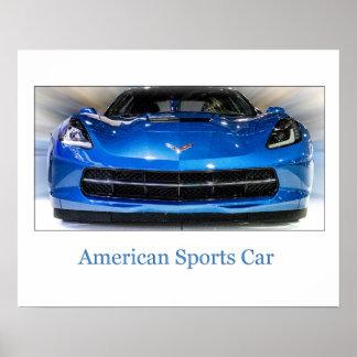 El coche de deportes del americano posters