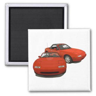 El coche de deportes rojo del arte de la avenida imán cuadrado