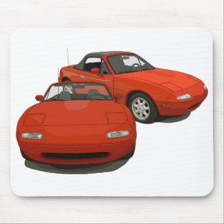 El coche de deportes rojo del arte de la avenida mouse pads