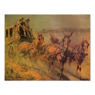 El coche de la etapa de Juan Borein, vaqueros del Invitación 10,8 X 13,9 Cm