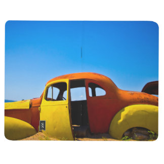 El coche de la fruta cítrica un amarillo anaranjad cuaderno