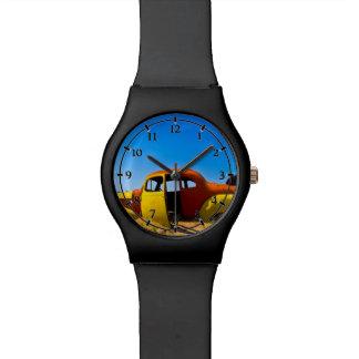 El coche de la fruta cítrica un amarillo relojes de pulsera