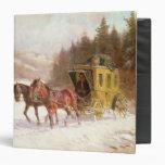 El coche del poste en la nieve