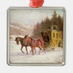 El coche del poste en la nieve adorno para reyes