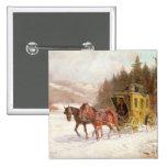 El coche del poste en la nieve pins