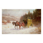 El coche del poste en la nieve poster