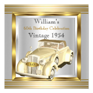 """El coche del vintage sirve el 60.o oro y la plata invitación 5.25"""" x 5.25"""""""