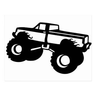 el coche grande del monster truck coge postal