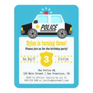 """El coche policía de la sirena embroma a la fiesta invitación 4.25"""" x 5.5"""""""