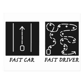 El coche rápido ayuna conductor tarjeta postal