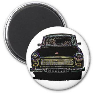El coche trabante, ennegrece vista delantera resum imán redondo 5 cm