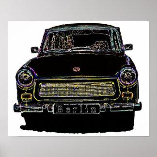 El coche trabante, ennegrece vista delantera resum póster