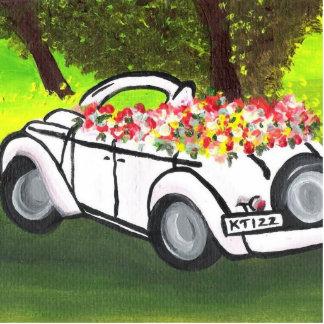 El coche y la primavera del vintage florece (el ar escultura fotografica