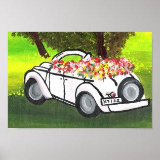 El coche y la primavera del vintage florece (el ar póster