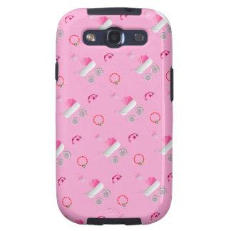 El cochecito de bebé rosado Samsung encajona Galaxy S3 Protector