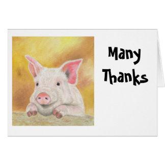 El cochinillo le agradece Notecard Tarjeta Pequeña
