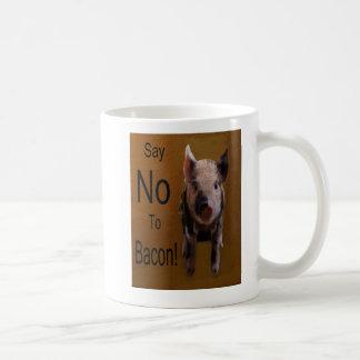 """El cochinillo lindo """"dice no al tocino """" tazas de café"""