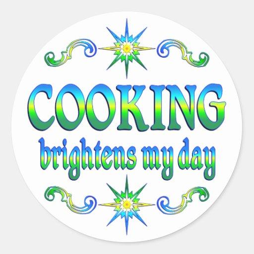 El cocinar aclara pegatina redonda