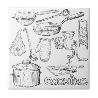 El cocinar azulejo cuadrado pequeño