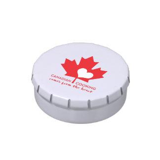 El cocinar canadiense viene del corazón frascos de caramelos
