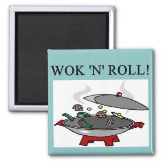 el cocinar chino del wok imanes