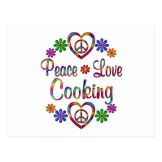 El cocinar colorido del amor de la paz postales