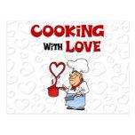 El cocinar con amor postal