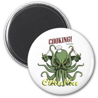 El cocinar con Cthulhu Imán Redondo 5 Cm