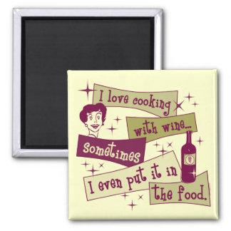 El cocinar con el imán del vino