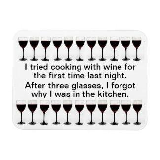 El cocinar con el vino - refrán divertido en delan imanes rectangulares