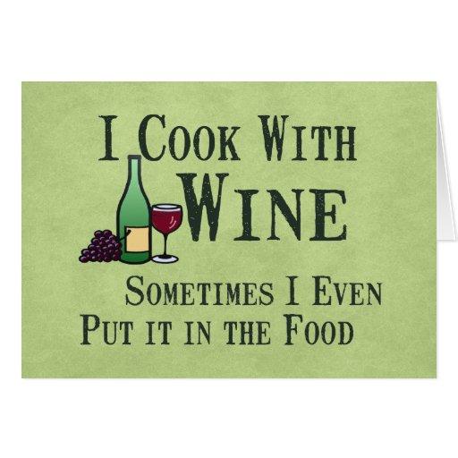 El cocinar con el vino tarjeta de felicitación